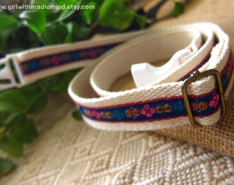 Gift for Girls and Boys - Belt Beige with Blue Folk Embroidery Trims - Free Size for Kids and Adults Adjustable
