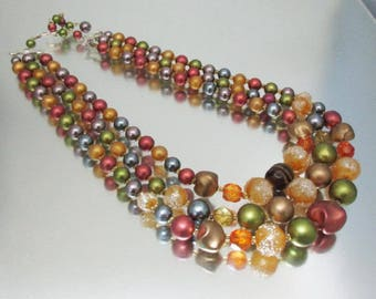 Autumn Bead Triple Strand Necklace  Glass Crystal Plastic Japan Necklace