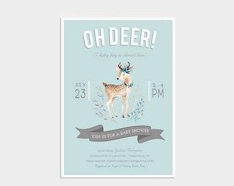 HALF OFF Oh Deer Boy Baby Shower Invitation, Woodland Animals Baby Shower, Baby Shower Invite, Digital Invitation, Digital Invite, Printed C