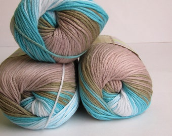 Cotton yarn, 3 skeins, 50g/180m, self striping, soft, classical unbrushed, batic, light turquoise, sand