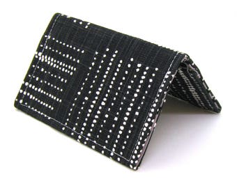 Mini Wallet / Card Holder / Business Card Holder / Card Case / Gift Card Holder/ Small Wallet - Black Geometric Dots