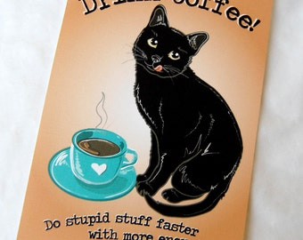 Coffee Black Cat - 5x7 Eco-friendly Print