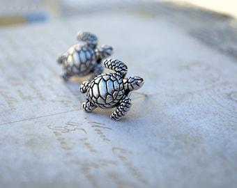 Turtle Earring Studs -- Silver Turtles, Silver, Sea Turtle Studs, Turtle Earrings