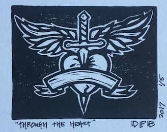 Through the Heart Linocut Print
