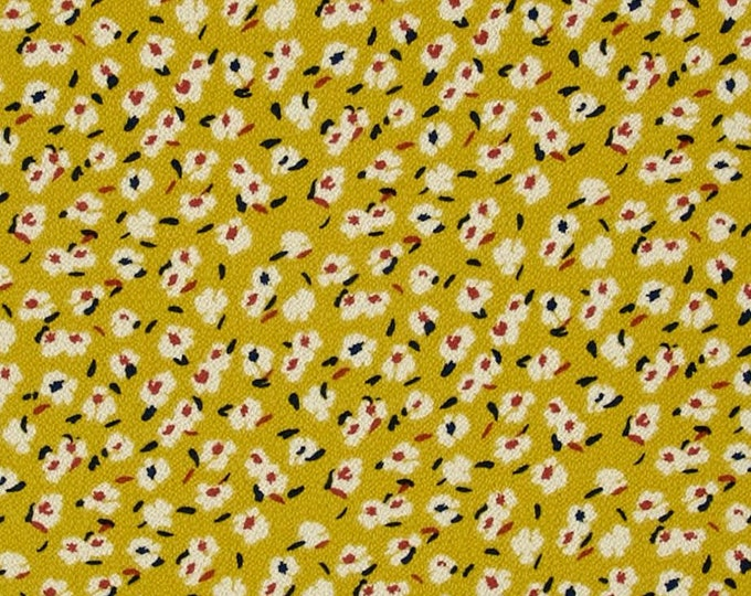 Allover Floral Print in Curry Yellow and Auburn Red - Bubble Crepe FABRIC