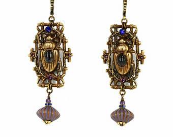 Egyptian Scarab jewelry Vintage Earrings  Beetle earrings scarabs jewelry brass Ametrine Violet Blue Swarovski