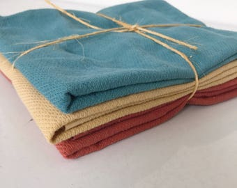 Burp Cloths Set of 3, Hand Dyed, Organic Cotton, Cloth Diapers