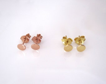 Small CIRCLE DOT rose gold or yellow gold plated sterling silver stud earrings