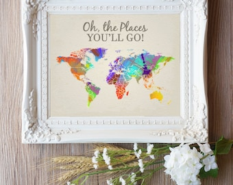 Oh the Places You Will Go Wall Art, Travel Poster, Travel Map World, Printable World Map, Printable Map, Oh the Places You'll Go Nursery