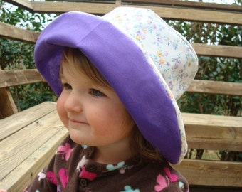 Lightweight Cotton Sewn Floral and Purple Toddler Girls Sunhat - Laura 634