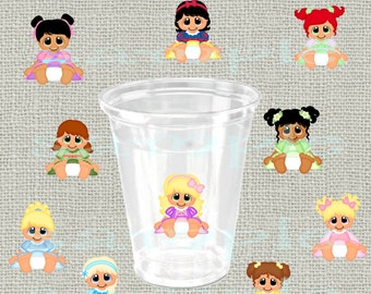 24 assorted baby princess clear stickers princess sticker Decorations girl birthday Party sticker cup princess stickers favors DIY or Precut