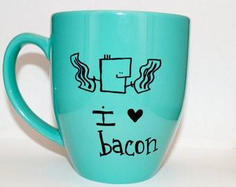 Hand Drawn I Love Bacon Mug (Customizable)
