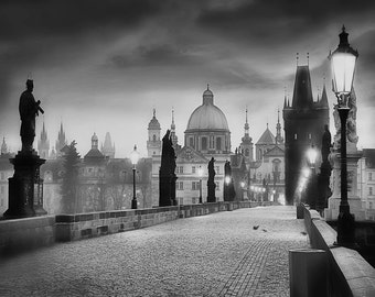 Charles Bridge Photo,  Prague Photography, Charles Bridge Morning Black and White, prague Prints, Large Wall Art