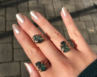 Rough Emerald Brass Stacking Ring size 10