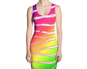 Rainbow Zebra Bodycon Dress