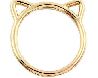Gold cat ears stackable ring
