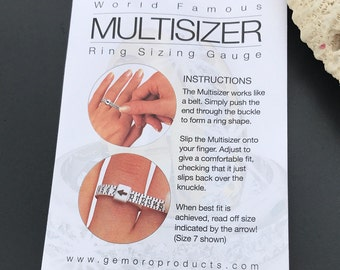 Multisizer Ring Sizing Gauge, Whole and Half US Ring Sizes 1-17, Reusable Tool to Meaure Finger