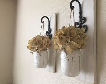 Set of 2 Hanging Mason Jar Sconces, Mason Jar Wall Decor, Wall Sconce, Farmhouse Decor, Wall Decor, Rustic Wall Decor, Home Decor, Country