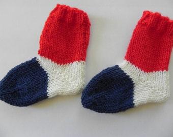 French Flag Baby Socks Knitting Pattern PDF