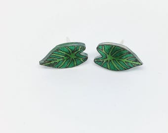 Tropical Leaves Plant Lady Palm Leaf Ear Studs Ready To Ship Stud Earrings Heart Leaf Lilly Pad Plant Botanical Garden Monstera Gift For Mom