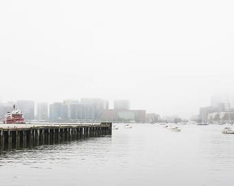 Red Tug Boat on a Foggy Day, Boston, Harbor, Massachusetts, New England, Red decor, photography, photo, print, art, nautical, ocean, harbor