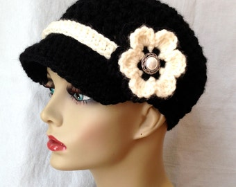 Womens Hat, Teen Black Newsboy, Cream Band, Flower, Pearl Button, Chemo Hat, Gifts for Her, Birthday Gifts JE148NFB7