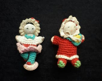Vintage 1970s Amigurumi Dolls Boy Girl
