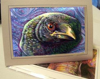 greeting card print of original art- green with envy raven  Zentangle