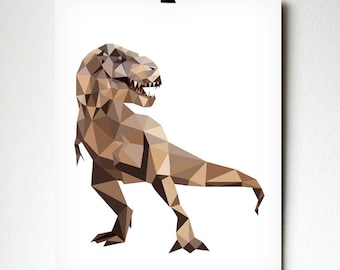 Trex art print - Geometric - Dinosaur art - Kids room decor - Toddler room