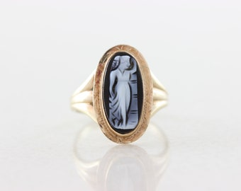 10k Yellow Gold Black Cameo Ring Antique Ring Victorian Ring Size 6 1/2