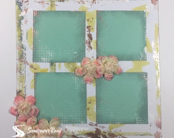 SPRING 12 x 12 scrapbook page (pre-made) - 3D flowers