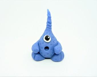 Clay monster, stocking filler, monster figure, monster birthday, kids gift, polymer clay monster, model figure, hand sculpted. blue monster