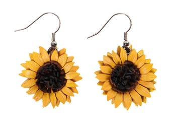 Earrings dangling flower sunflower in bloom with cowhide leather
