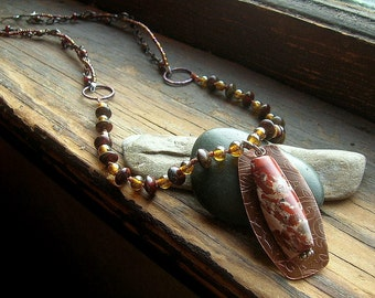 Knotted Czech Glass Seed Bead Etched Copper and natural stone necklace