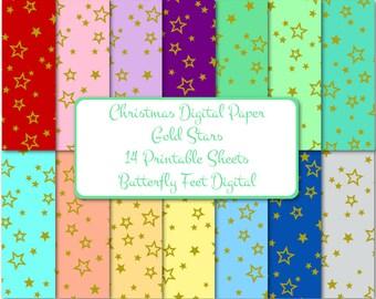 Gold Stars Digital Paper, Christmas Gold Stars, Printable Card Making, Scrapbooking, Instant Download
