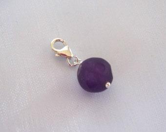 925 Sterling silver 10mm purple AMETHYST gemstone clip on charm for link bracelet, Healing gemstone charm, February Birthstone