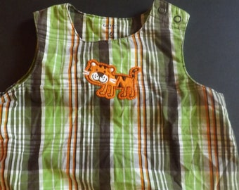 Vintage Kids Clothes, Vintage Baby Boy Clothes, Plaid Tiger Romper, Jumper, Baby Clothes, Summer Jumper, Carter Baby Clothes Size 6 Months