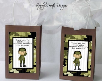 Army Favor Tag Camo DIGITAL FILE 4x6 Jpeg Digital File Personalized