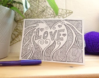 Love Card,  Abstract Card, Black and White Hand Drawn Card, Greetings Card,  Note Card, Anniversary Card, Wedding Card