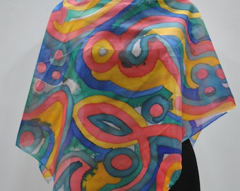 Vintage HANDMADE silk scarf , hand dyed scarf , hand rolled ....(617)