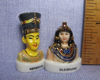 EGYPTIAN TREASURES Art Artifacts Gods & Kings of Egypt Cleopatra and Nefertiti - French Feve Feves Figurines Miniatures 006