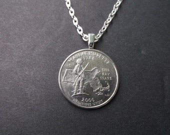 Massachusetts United States Quarter Coin Necklace -Massachusetts State Quarter Pendant
