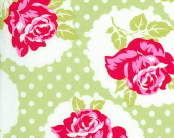 1 Yard Lulu Rose in Green  / Tanya Whelan Fabric / DELILAH Collection - By The Yard Cotton Quilting Fabric  Cotton Quilt Apparel Fabric