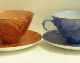 2 Vintage Dorothy C. Thorpe California Tea Cup & Saucers w/ Dessert Plate.