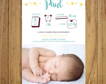Soft and modern birth announcement