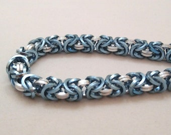 Handmade Chainmail Bracelet Square .048in Byzantine Sky Blue & Bright Silver Anodized Aluminum Maille Jewelry