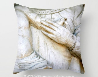 """MOTHER & CHILD 16x16"""" Pillow Cover. Photo Art, TMCdesigns. Love. Tenderness. Architectural Statue. Home Decor. Nursery. Children. Nursery."""