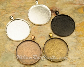 20 pcs 38mm Circle Pendant Trays Antique Bronze, Antique Copper, Silver and Black, Blank Bezel Cabochon Setting