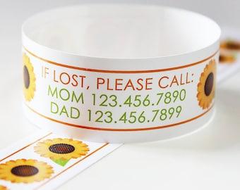 Custom Vinyl Sunflower ID Bracelets - Personalized ID Bands - #Kids #Travel #Safety #Medical