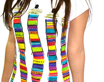 Colorful artistic abstract african warriors hand-painted T-shirt